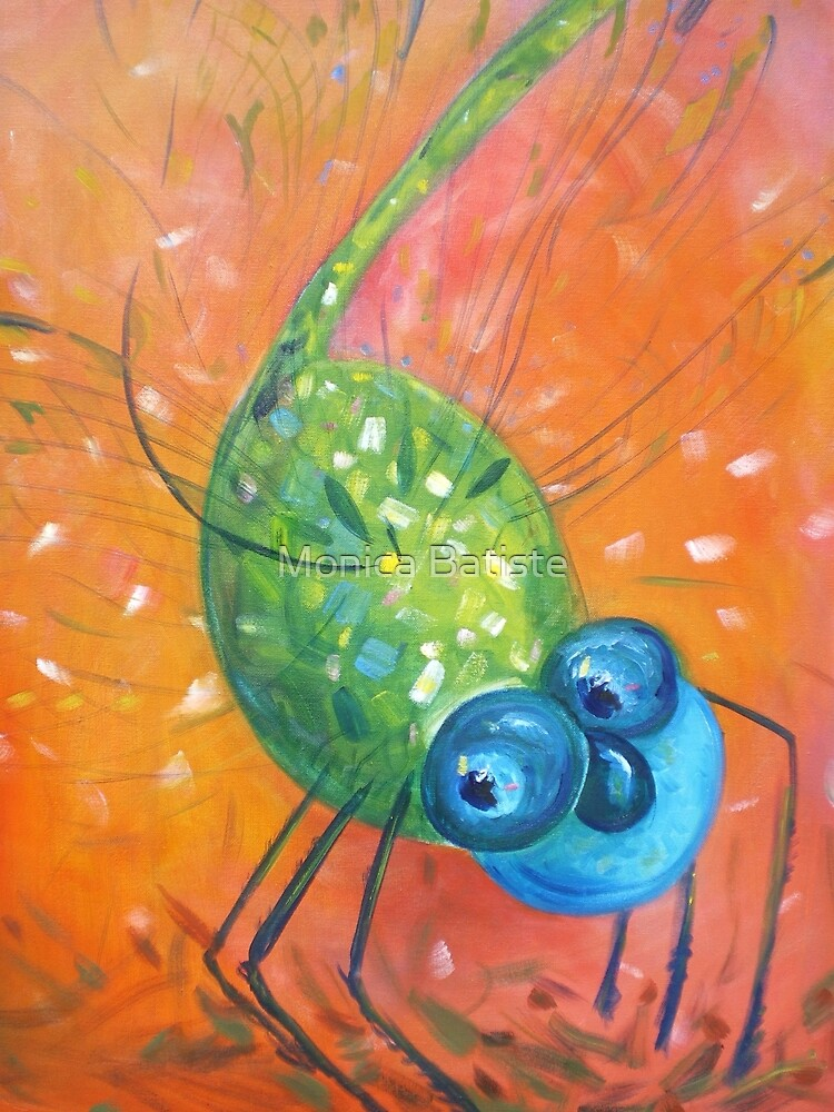 Blue and Green Dragonfly Dancing in Orange by Monica Batiste