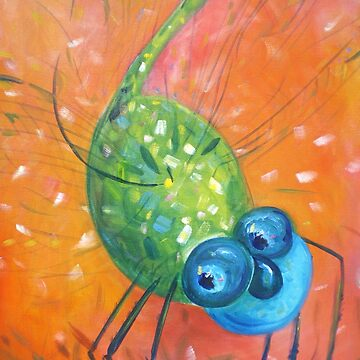 Blue and Green Dragonfly Dancing in Orange by MonicaArtist