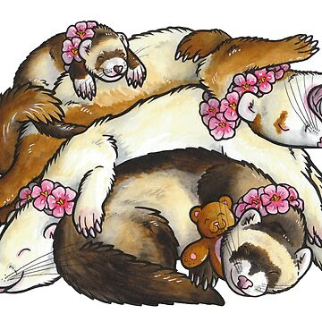 Sleeping ferret pile by animalartbyjess
