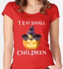 Kürbis Shirt Halloween Kostüm, ich esse kleine Kinder, lustige Männer Shirt Tailliertes Rundhals-Shirt