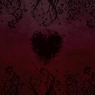 Dark red floral heart by Anteia