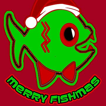 MERRY FISHMAS  NOVELTY DESIGN FOR FISHERMEN AND FISH LOVERS AT CHRISTMAS IN RED PERFECT FOR CLOTHING AND CARDS by CradoxCreative