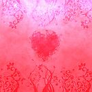 Vivid pink floral heart by Anteia