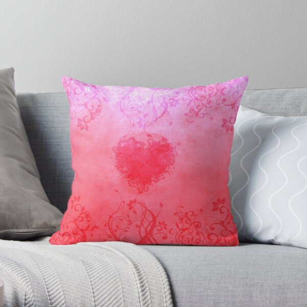 Vivid pink floral heart Throw Pillow