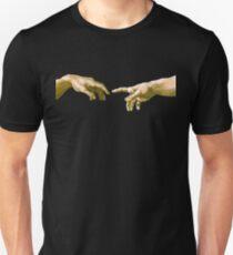 Berührung von Gott, Die Erschaffung Adams (Nahaufnahme), Michelangelo, 1510, Genesis, Decke, Sixtinische Kapelle, Rom, auf SCHWARZ Slim Fit T-Shirt