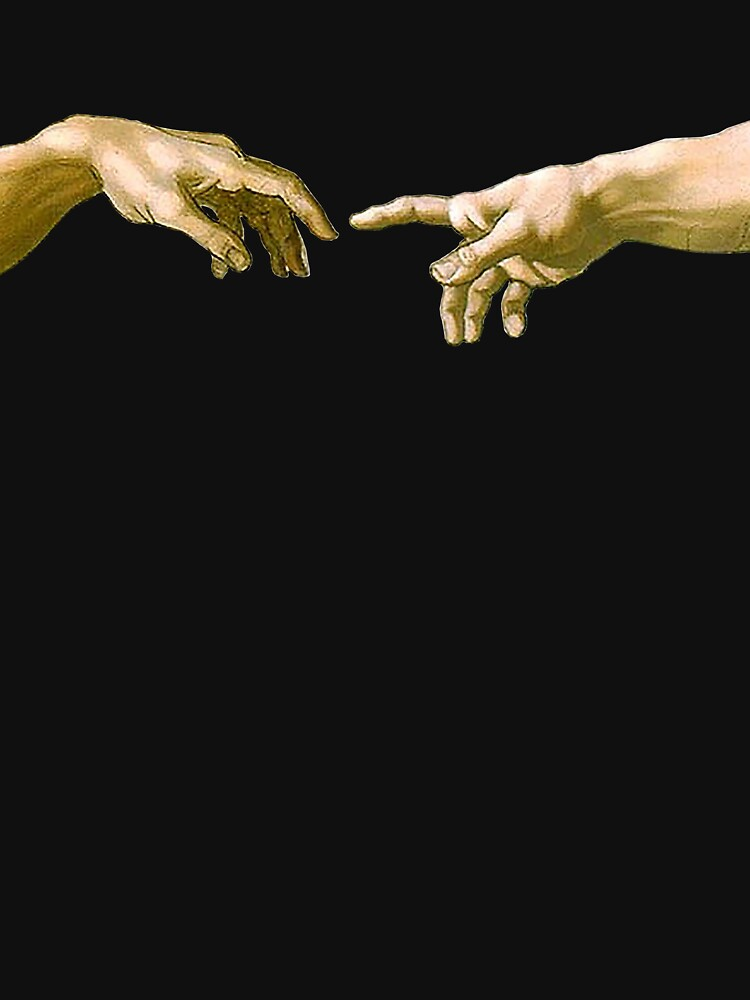Touch of God, The Creation of Adam, (close up), Michelangelo, 1510, Genesis, Ceiling, Sistine Chapel, Rome, on BLACK by TOMSREDBUBBLE