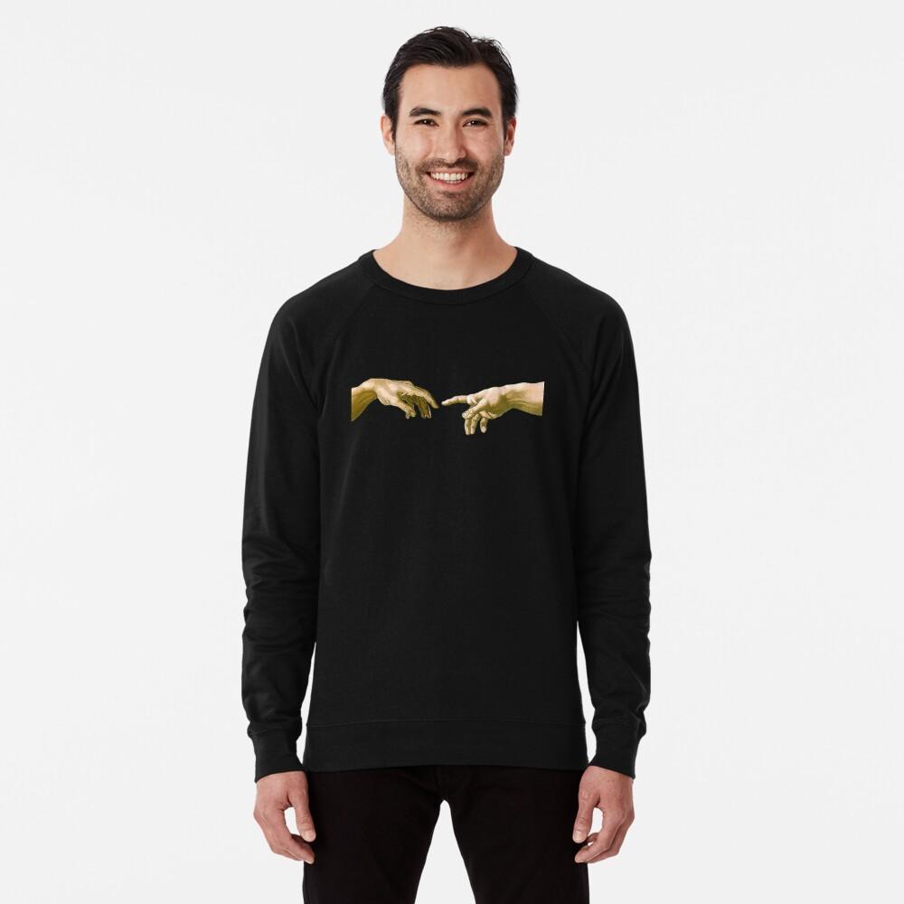 Touch of God, The Creation of Adam, (close up), Michelangelo, 1510, Genesis, Ceiling, Sistine Chapel, Rome, on BLACK Lightweight Sweatshirt