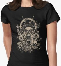 Ghost Pirate Skull Women's Fitted T-Shirt