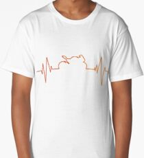 Motorcycle T-Shirt Cool Sport Motorcycle Heartbeat T Shirt Long T-Shirt