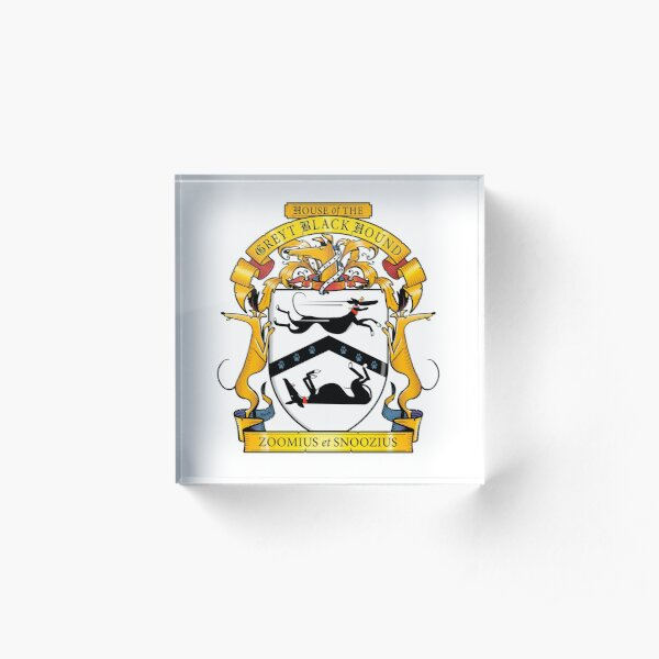 Greyhound Heraldry: Greyt Black Hound Acrylic Block
