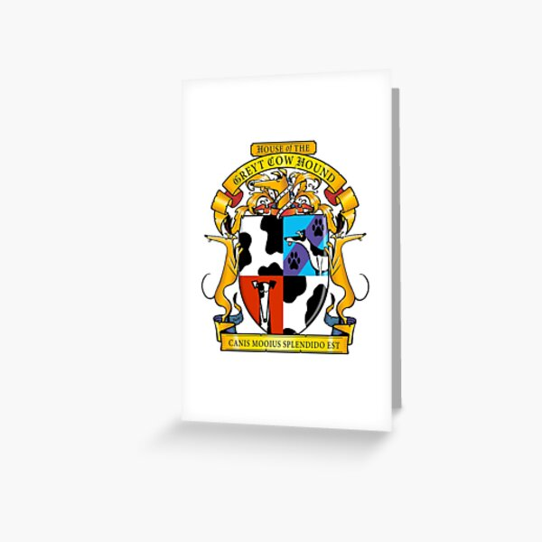 Greyhound Heraldry: Greyt Cow Hound Greeting Card