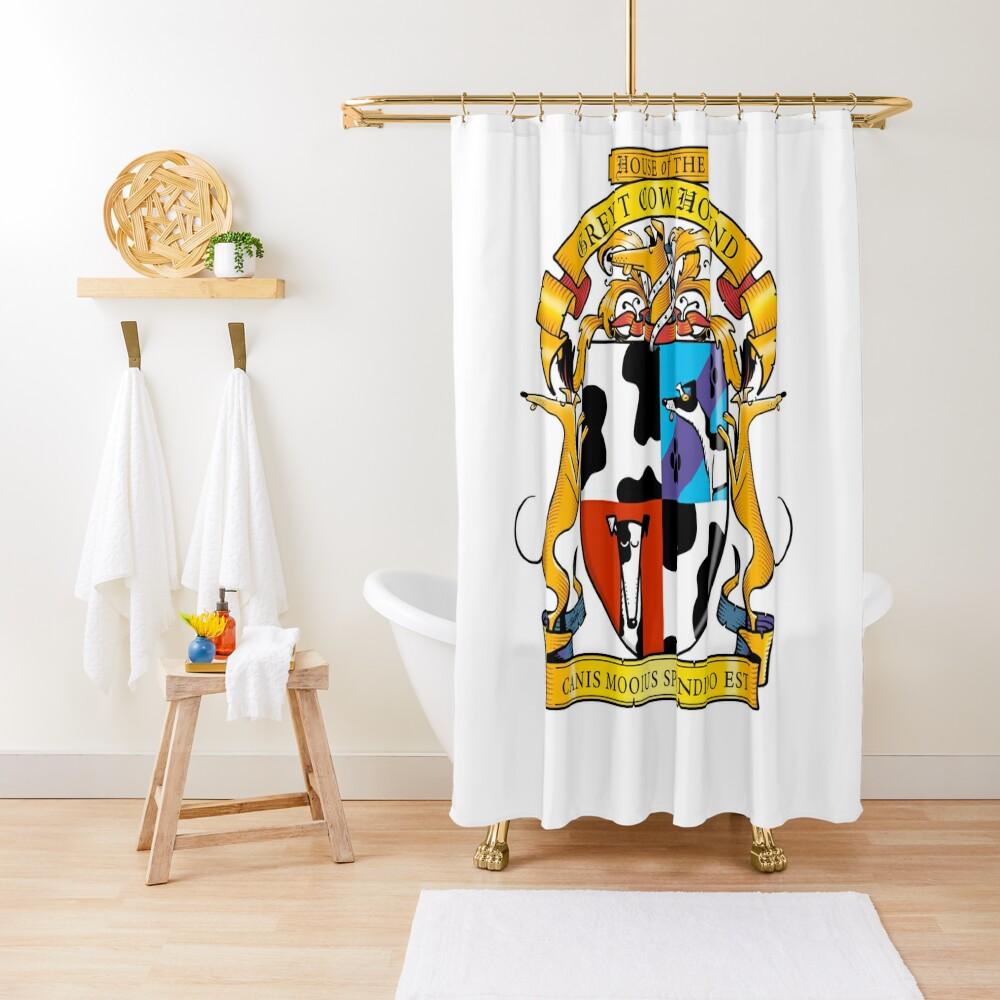 Greyhound Heraldry: Greyt Cow Hound Shower Curtain