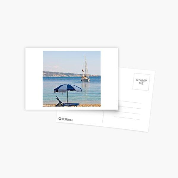 Sailing off Kerasia Beach, Corfu Postcard