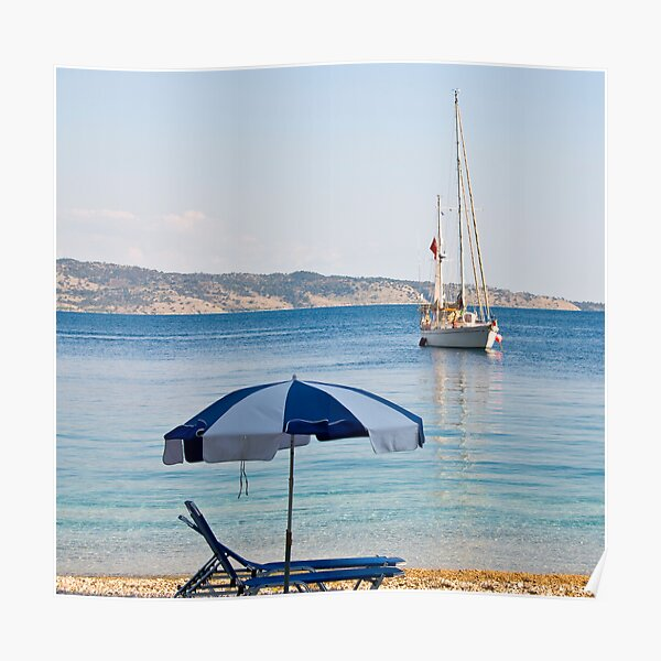 Sailing off Kerasia Beach, Corfu Poster
