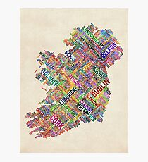 Ireland Eire City Text map Photographic Print