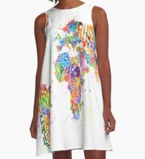 Paint Splashes Text Map of the World A-Line Dress