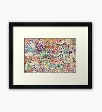 Watercolour Map of London Framed Print