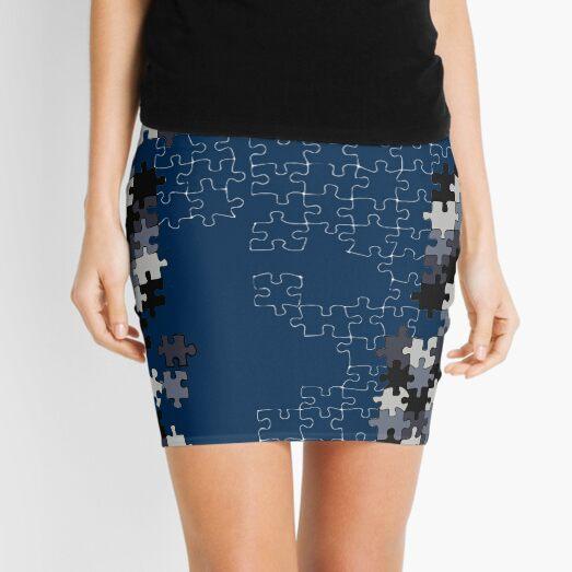 Jigsaw puzzle pieces BLUE Mini Skirt