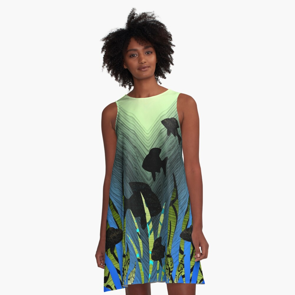 Current Trends Flowing Under Water A-Line Dress Front