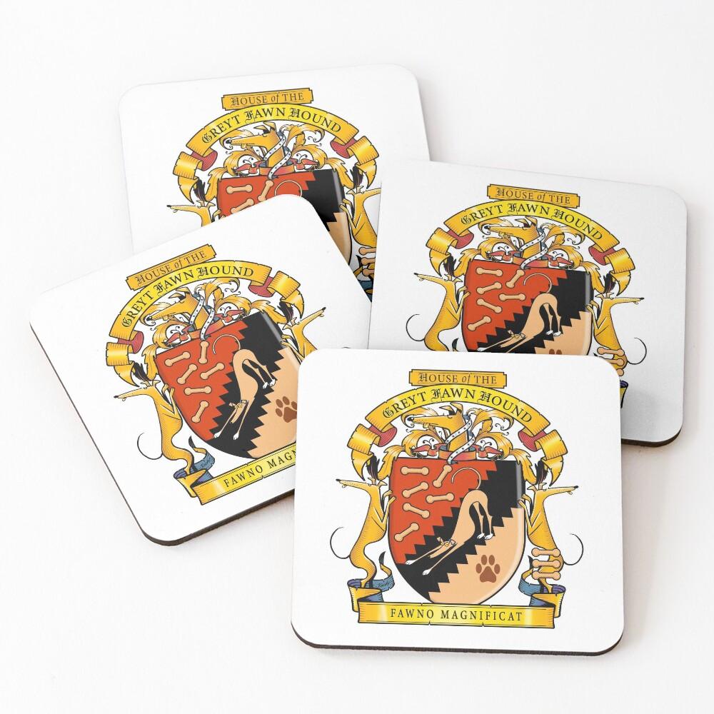 Greyhound Heraldry: Greyt Fawn Hound Coasters (Set of 4)