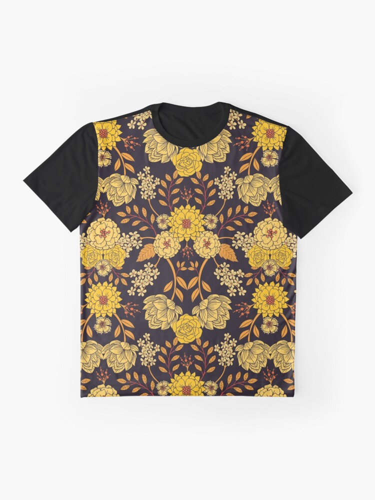 Alternate view of Yellow, Orange & Navy Blue Dark Floral Pattern Graphic T-Shirt