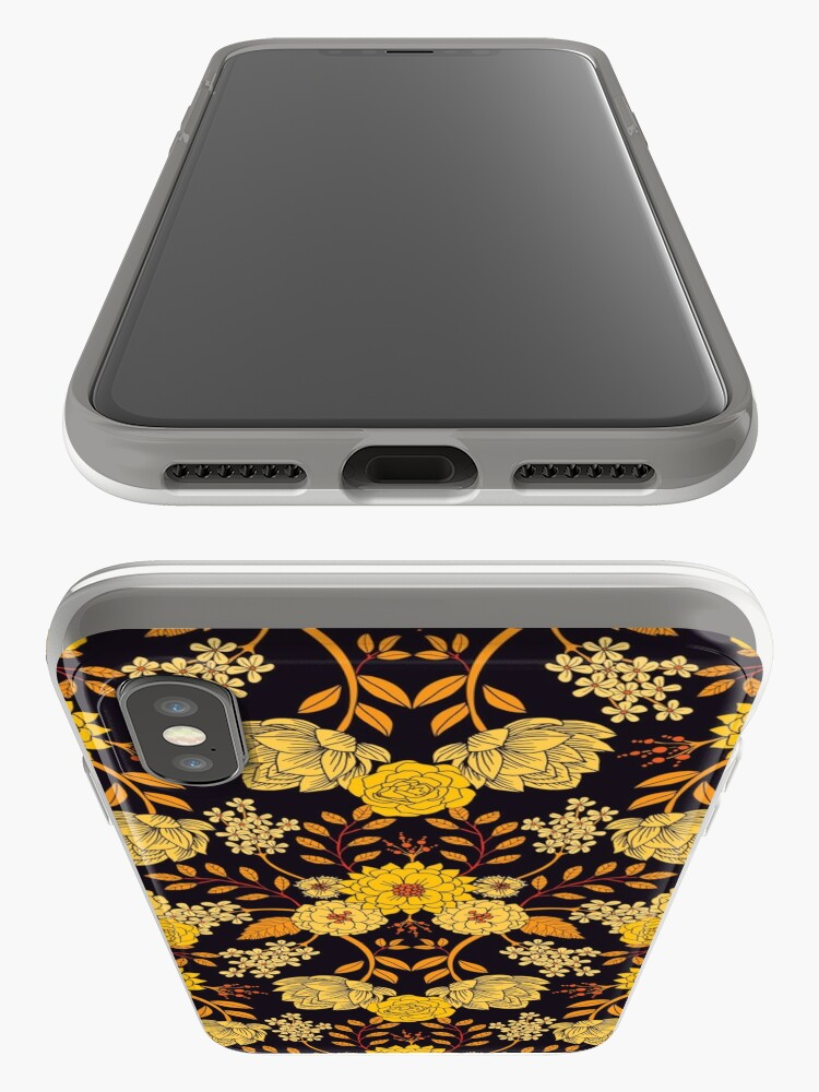 Alternate view of Yellow, Orange & Navy Blue Dark Floral Pattern iPhone Case & Cover