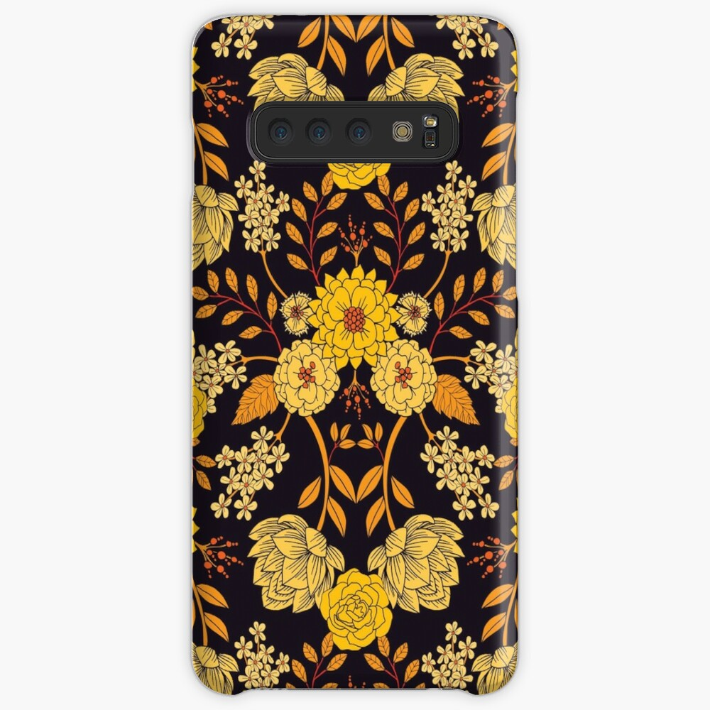 Yellow, Orange & Navy Blue Dark Floral Pattern Case & Skin for Samsung Galaxy
