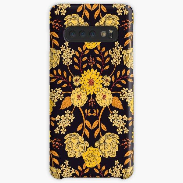 Yellow, Orange & Navy Blue Dark Floral Pattern Samsung Galaxy Snap Case