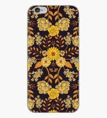 Yellow, Orange & Navy Blue Dark Floral Pattern iPhone Case