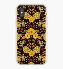 Yellow, Orange & Navy Blue Dark Floral Pattern iPhone Case