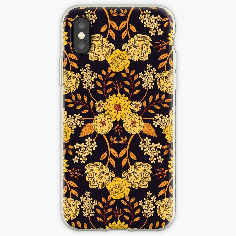 Yellow, Orange & Navy Blue Dark Floral Pattern iPhone Case & Cover