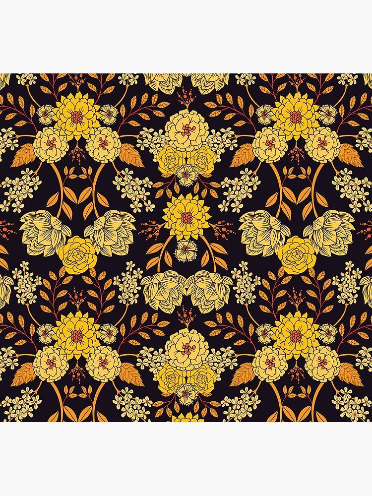 Gelb, Orange und Marineblau dunkles Blumenmuster von somecallmebeth