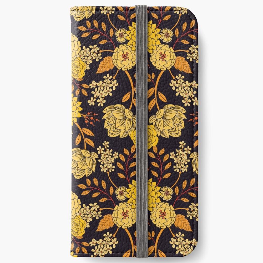 Gelb, Orange und Marineblau dunkles Blumenmuster iPhone Flip-Case