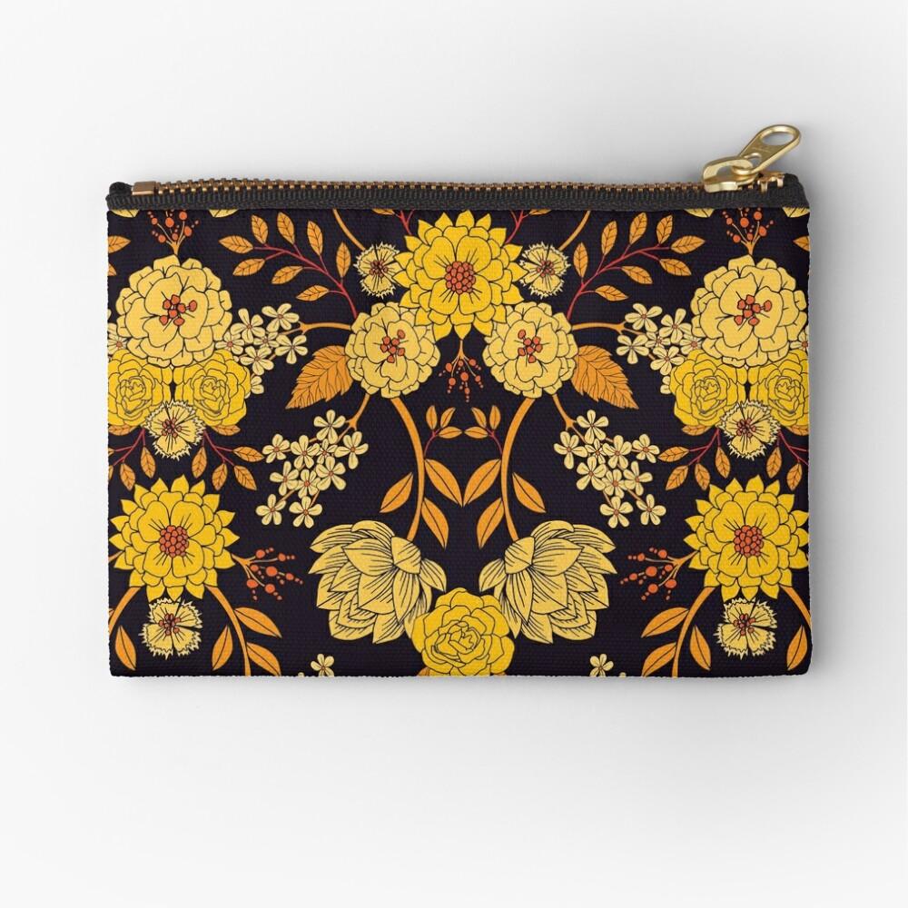 Yellow Orange Navy Blue Dark Floral Pattern Zipper Pouch By