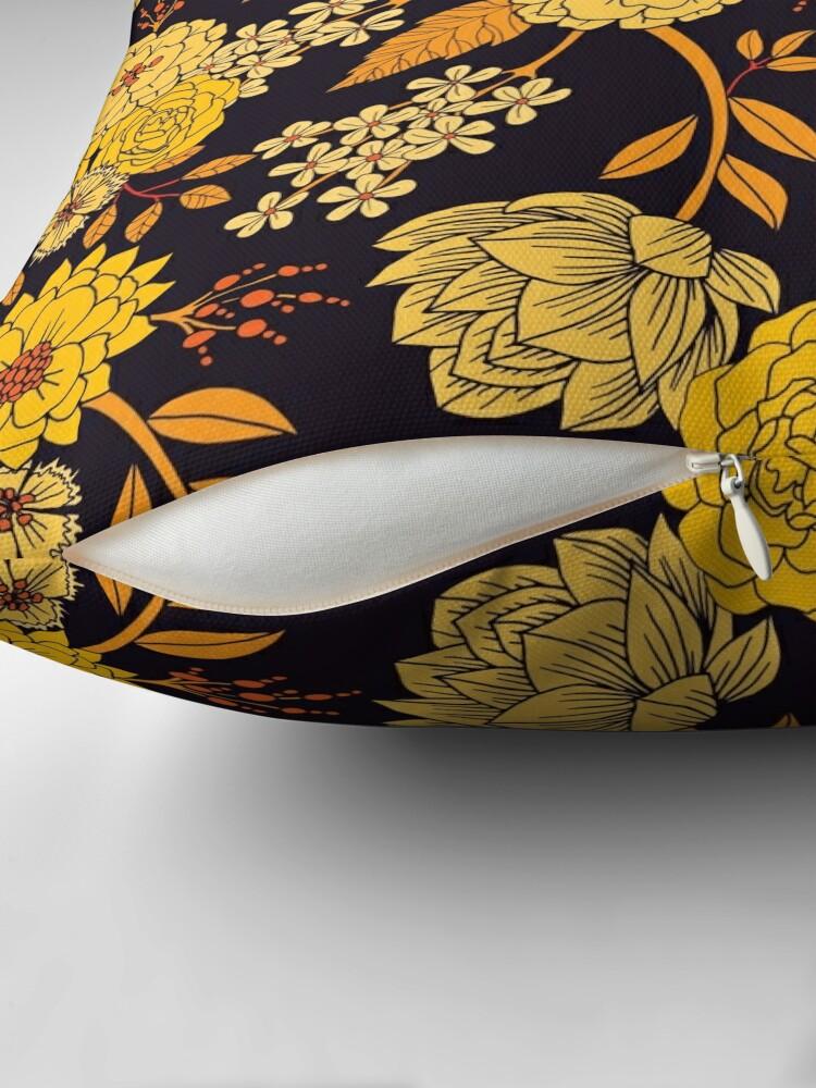 Alternate view of Yellow, Orange & Navy Blue Dark Floral Pattern Throw Pillow