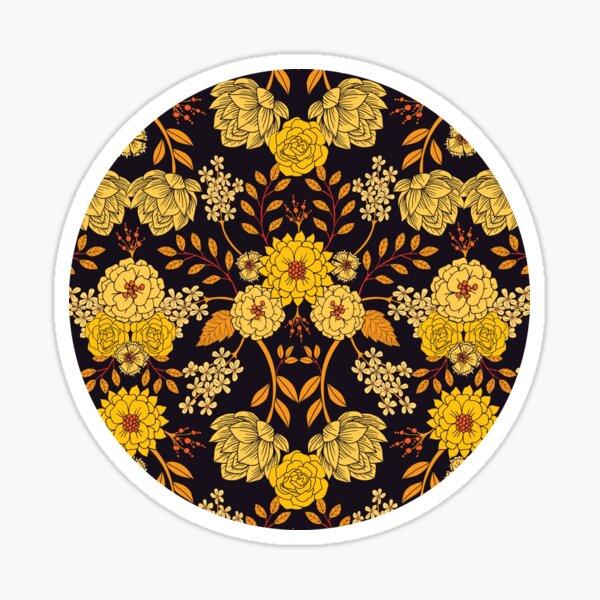 Yellow, Orange & Navy Blue Dark Floral Pattern Sticker