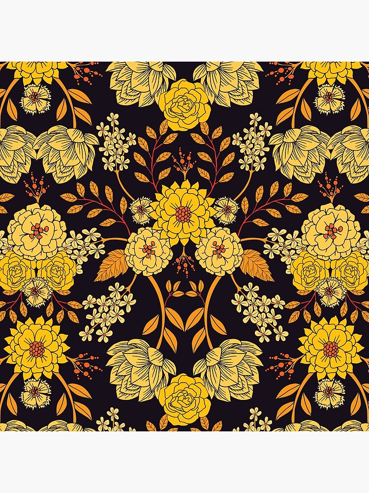 Yellow, Orange & Navy Blue Dark Floral Pattern by somecallmebeth