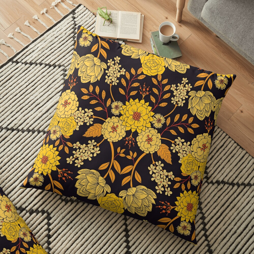 Yellow, Orange & Navy Blue Dark Floral Pattern Floor Pillow