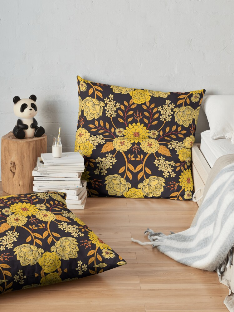 Alternate view of Yellow, Orange & Navy Blue Dark Floral Pattern Floor Pillow