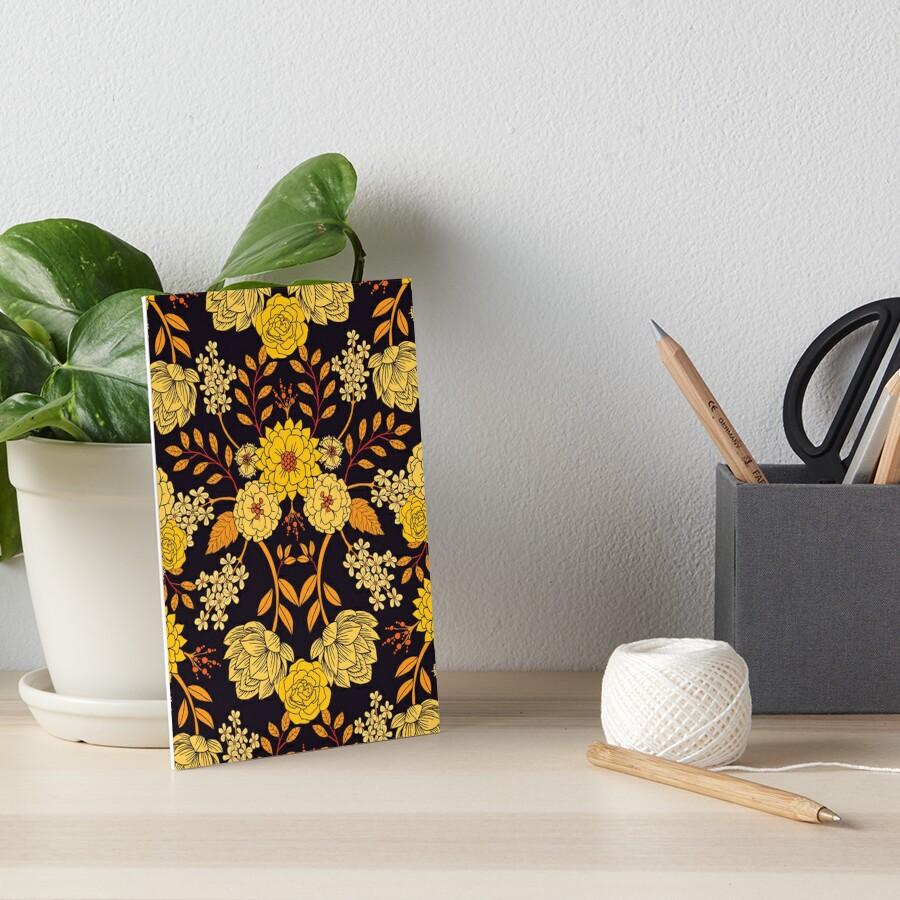 Yellow, Orange & Navy Blue Dark Floral Pattern Art Board Print