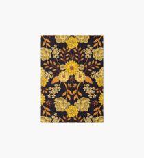 Yellow, Orange & Navy Blue Dark Floral Pattern Art Board