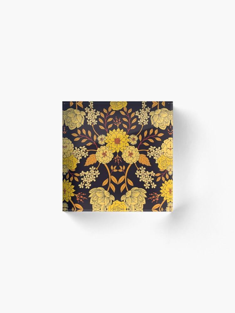 Alternate view of Yellow, Orange & Navy Blue Dark Floral Pattern Acrylic Block