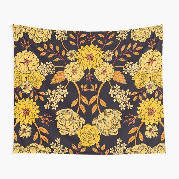 Yellow, Orange & Navy Blue Dark Floral Pattern Tapestry