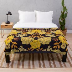 Yellow, Orange & Navy Blue Dark Floral Pattern Throw Blanket