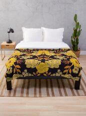 Yellow, Orange & Navy Blue Dark Floral Pattern Throw Blanket