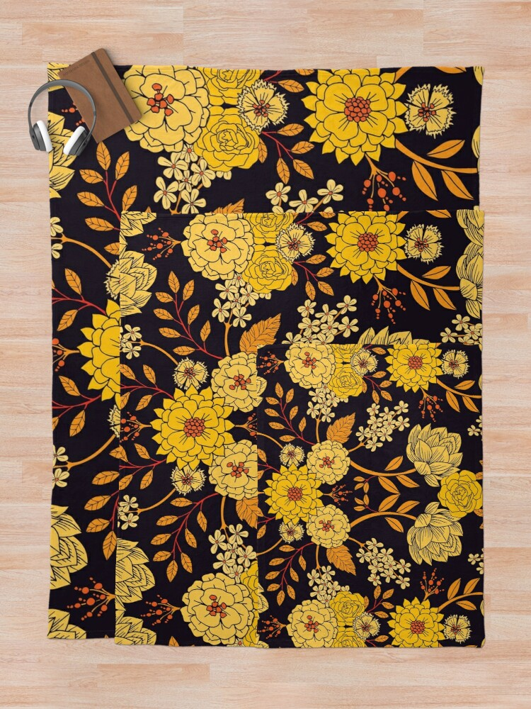 Alternate view of Yellow, Orange & Navy Blue Dark Floral Pattern Throw Blanket