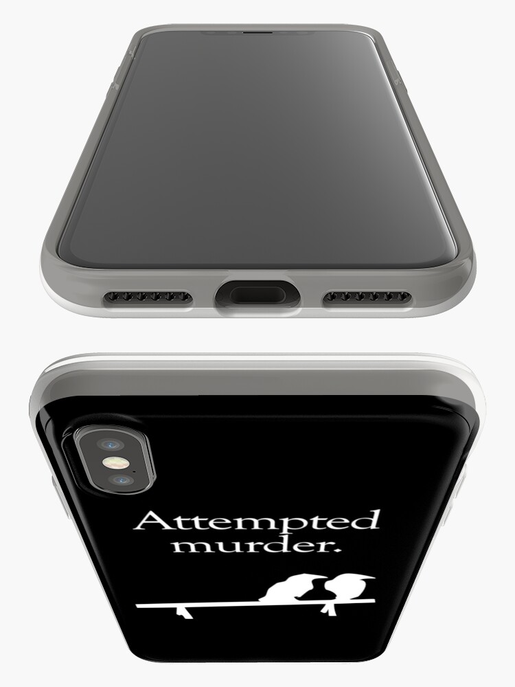 Alternate view of Attempted Murder (White design) iPhone Case & Cover