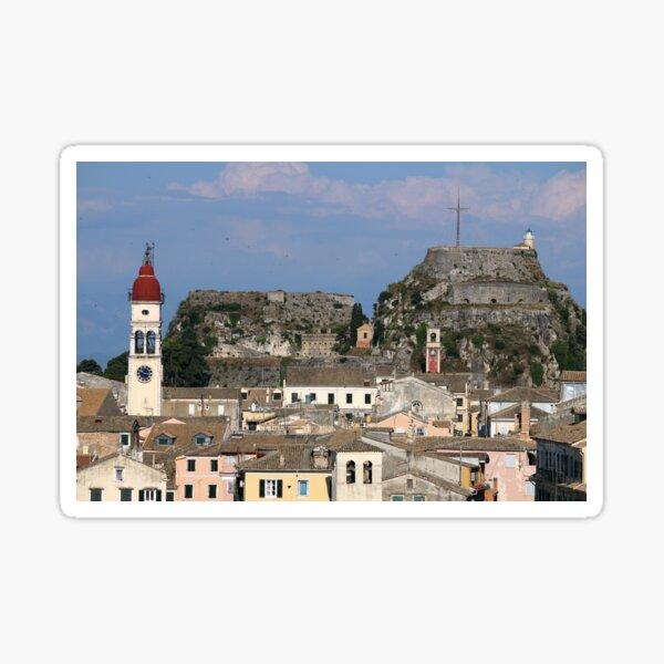 St. Spiridon church and old fortress Corfu town Sticker