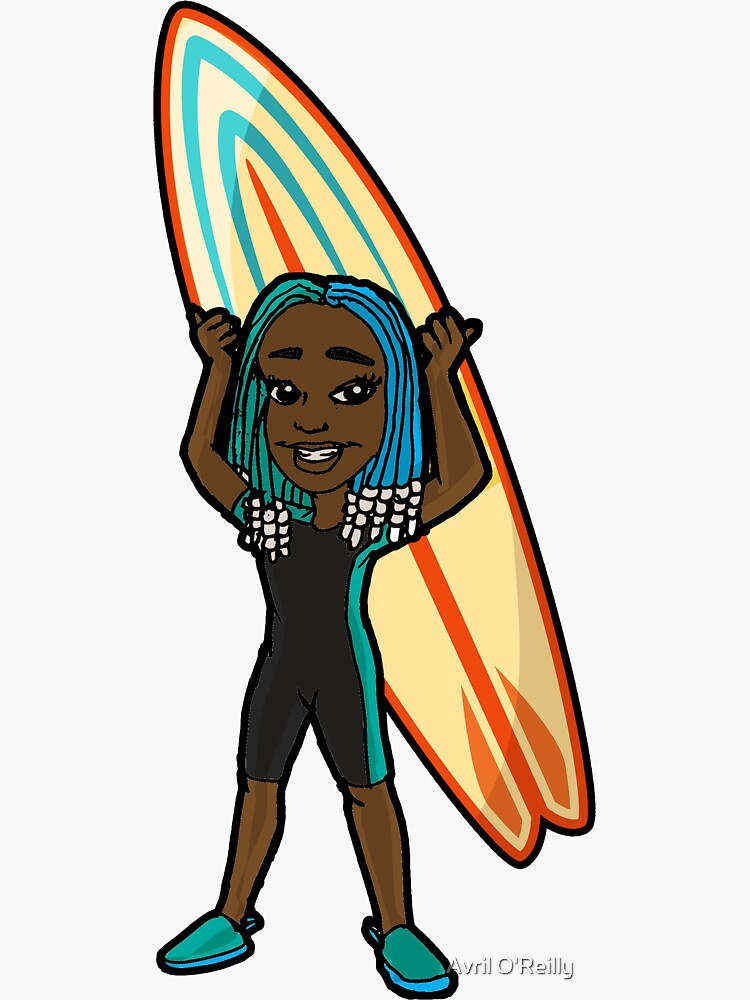 Beads and Braids Cute Cartoon Surfer Girl  by 2DI4