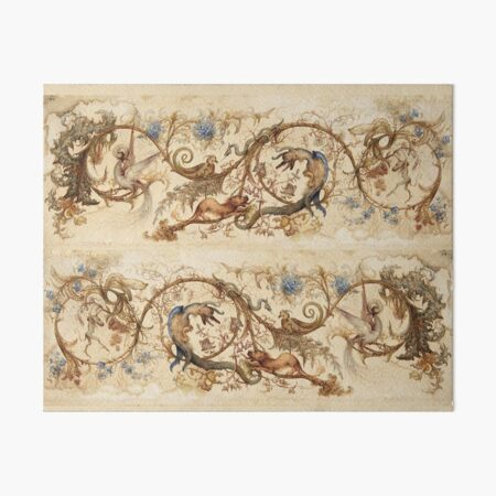 FANTASTIC ANIMALS Medieval Bestiary and Floral Swirls Antique Brown Parchment Art Board Print